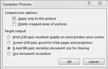 Compress pictures in PowerPoint, quick option