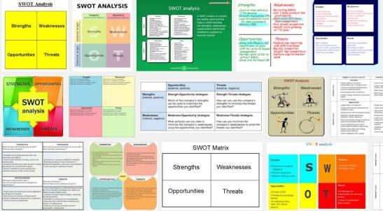 Sample of SWOT matrixes from a quick Google Search